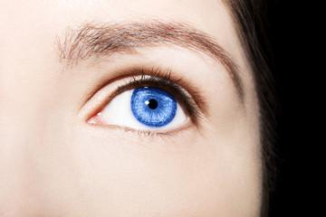 Beautiful insightful look blue woman's eye