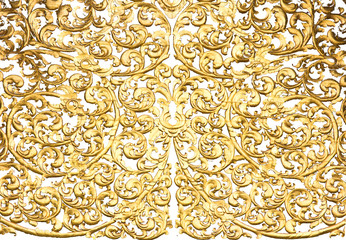 old antique gold frame Stucco walls Thai style pattern isolated