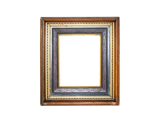 Old golden picture frame on white background