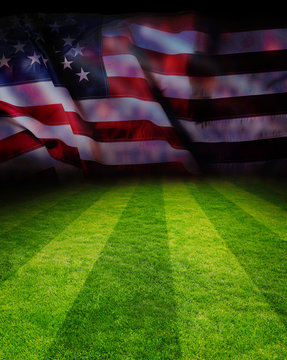 Football field with American flag background