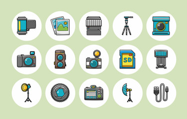 Camera and photo icons set,eps10
