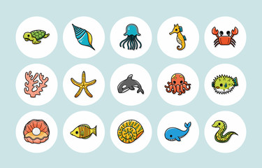 Ocean and Marine icons set,eps10