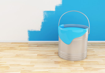 3d Full bucket of paint color blue.