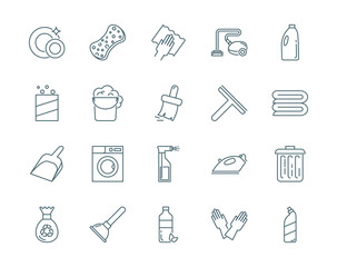Cleaning vector icons set modern line style