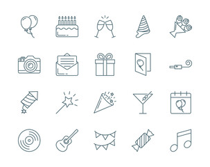 Party and birthday vector icons set modern line style