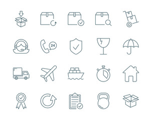 Cargo and logistics vector icons set modern line style
