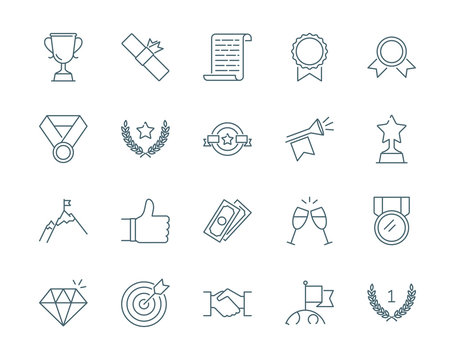 Winning awards vector icons set modern line style