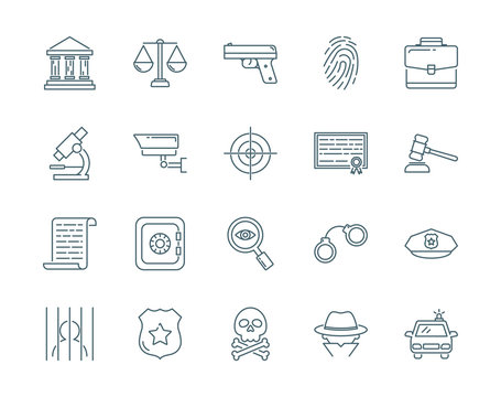 Crime and law vector icons set modern line style