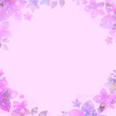 Ancient water color vignette, flickering flowers, purple