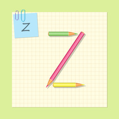The alphabet consists of colored pencils. Letter Z. Vector illustration