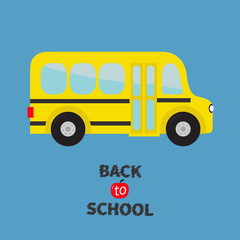 Yellow school bus kids. Cartoon clipart. Transportation. Baby collection. Side view. Back to school. Greeting card. Flat design. Isolated. Blue background.