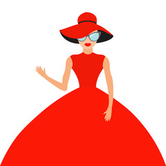 Woman in red elegant hat and big dress, sunglasses waving. Rich beautiful celebrity girl. Beauty fashion model face lips. People Cute cartoon character Flat White background Isolated