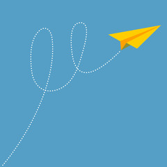 Yellow origami paper plane dash line track with loop in the sky. Flat design. Blue background.
