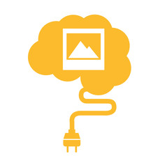 brain human wire cable plug icon