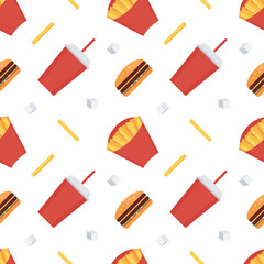 Fast food seamless pattern background. French fries, soda, cheeseburger.