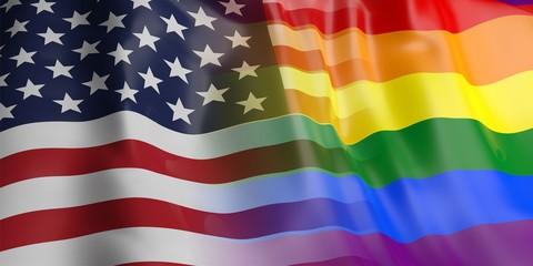 USA and gay pride flag. 3d illustration