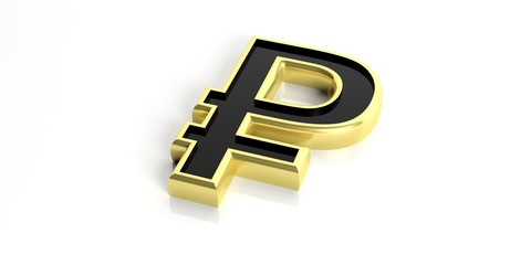 Russian ruble symbol on white background. 3d illustration