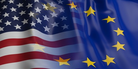 EU and USA flag. 3d illustration