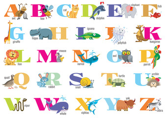 English alphabet for children with cute animals