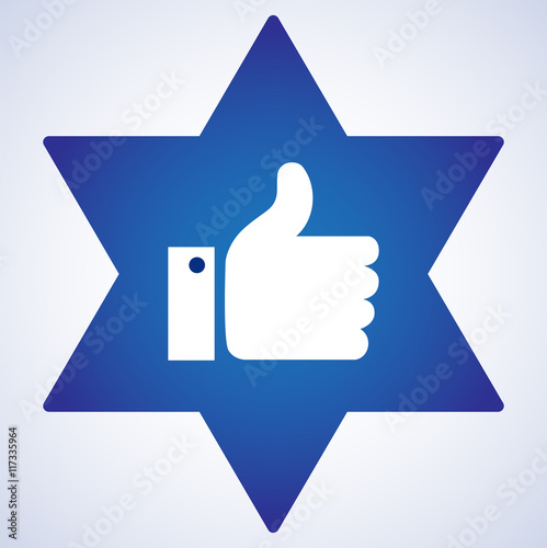 Facebook Blue Like Icon With Star Of David Juish Simbol Vector