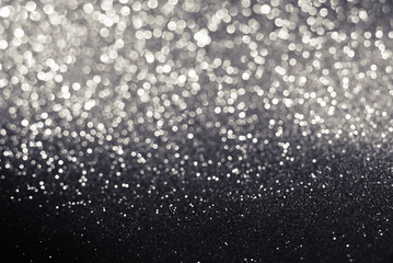 black and white glitter bokeh texture abstract background