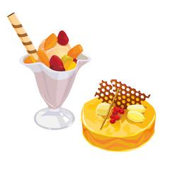 Fruit icecream in glass and honey lemon cake with chocolate