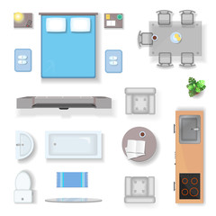 Apartment top view, living room bedroom and bathroom furniture design elements realistic isolated vector