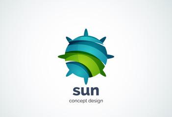 Sun logo template, shining star concept