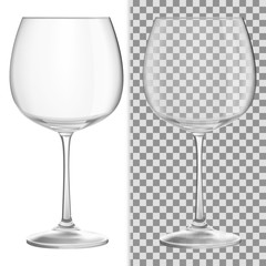 Transparent vector wineglass for light background
