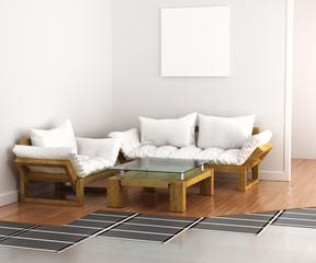 Warm floor. System underfloor heating in the interior. 3d illust