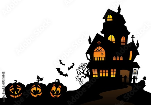 """haunted house silhouette theme image 4"""" stock image and royalty"""
