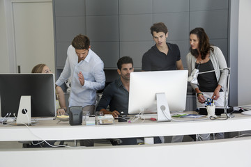 Business executives working in office