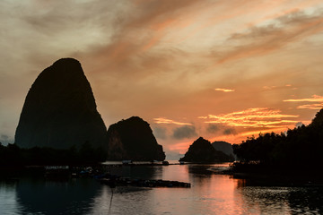 Photo sur Toile Cote Beautiful sunrise landscape with countryside ,Ban Hin Rom, Phang Nga, Thailand.