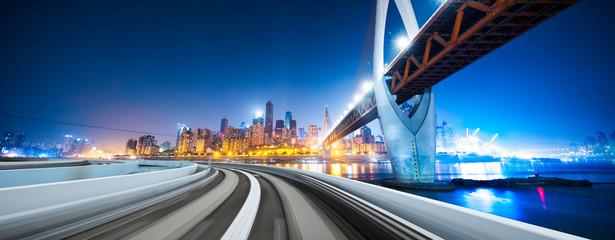 Fototapete - bridge,highway,cityscape and skyline of chongqing  at night