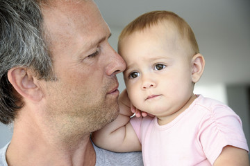 Close-up of a mature man with her daughter