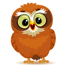 Vector Illustration of a Cute Cartoon Owl