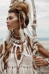 Attractive wild boho woman portrait