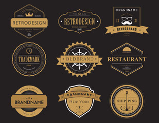 Set of classic company retro badges or banners