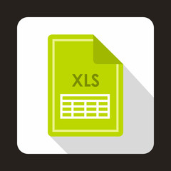 File XLS icon in flat style with long shadow. Document type symbol