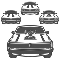 Set of muscle car for logo and emblems.Retro and vintage style.Drag racing car.