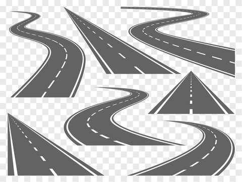 Bending roads vector set