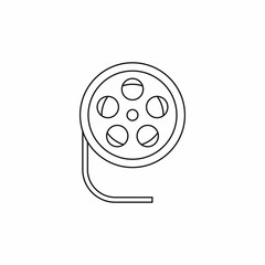 Reel with film icon in outline style isolated on white background. Video symbol