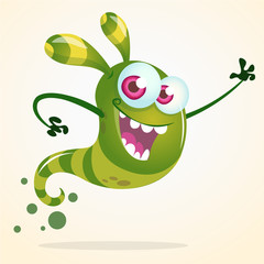 Cute cartoon green ghost waving. Vector Halloween character