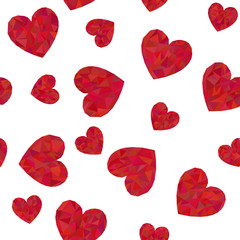 Seamless pattern with polygonal red hearts.