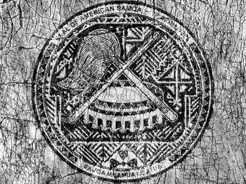 Grudge stone painted US American Samoa seal flag