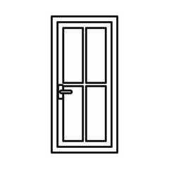 Glass door icon in outline style isolated vector illustration