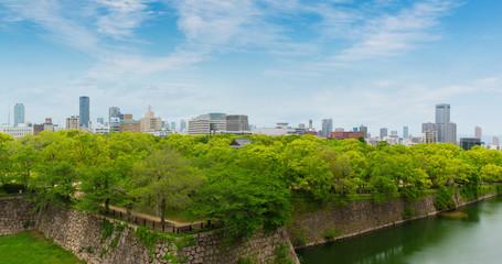 Wall outside of Osaka castle is historic landmark in osaka