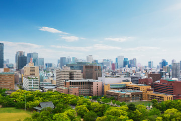 Cityscape and Skyline of Osaka city in Japan