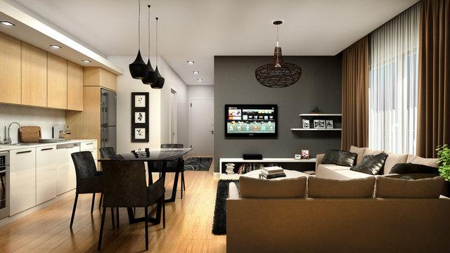 KITCHEN AND LIVING ROOM DESIGN 3D RENDER
