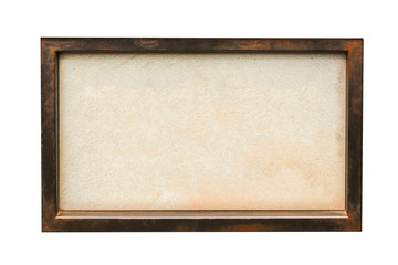 Blank signboard on wooden frame, isolated white background.